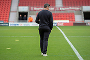 Fleetwood Town Manager Joey Barton walks out onto the pitch prior to the EFL Sky Bet League 1 match between Doncaster Rovers and Fleetwood Town at the Keepmoat Stadium, Doncaster, England on 6 October 2018.