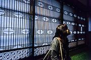 Tokyo, Meguro - Woman seat in front of  Japanese wodden door in tatami room  in Gajoen in Meguro.