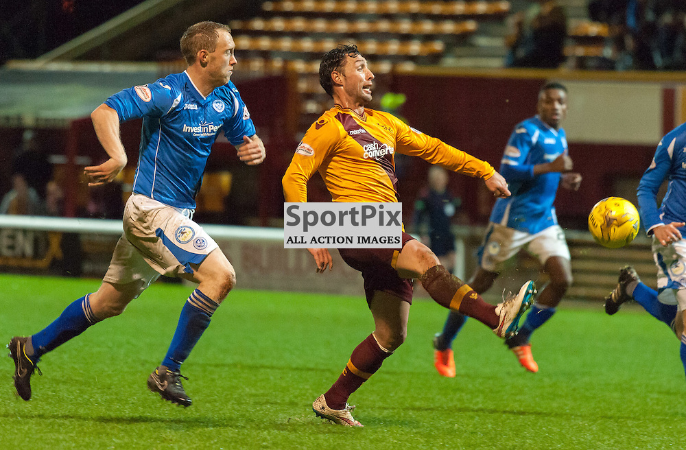 #77 Scott McDonald (Motherwell) just fails to control a long clearance • Motherwell v St Johnstone • SPFL Premiership • 30 December 2015 • © Russel Hutcheson | SportPix.org.uk