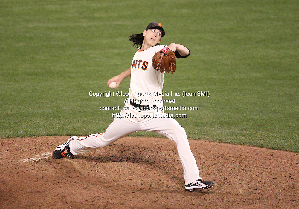 07 October 2010: San Francisco Giants starting pitcher Tim Lincecum (55) pitches a complete game shut out as the Giants beat the Braves 1-0 in game 1 of the National League Division Series at AT&T Park in San Francisco, California ***FOR EDITORIAL USE ONLY****