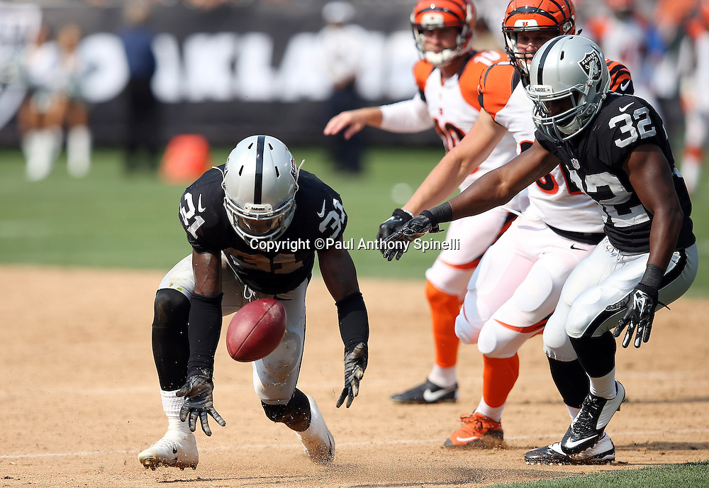 Oakland Raiders defensive back Neiko Thorpe (31) goes after a live ball on a blocked extra point attempt during the third quarter of the 2015 NFL week 1 regular season football game against the Cincinnati Bengals on Sunday, Sept. 13, 2015 in Oakland, Calif. The Bengals won the game 33-13. (©Paul Anthony Spinelli)