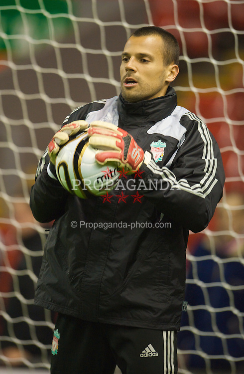 LIVERPOOL, ENGLAND - Tuesday, September 23, 2008: Liverpool's goalkeeper Diego Cavalieri warms up before the League Cup 3rd round match against Crewe Alexandra at Anfield. (Photo by David Rawcliffe/Propaganda)