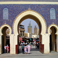 Bab Bou Jeloud in Fes el Bali at Fez, Morocco <br />