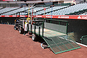 ANAHEIM, CA - MAY 4:  The grounds crew cart is parked behind home plate before the Los Angeles Angels of Anaheim game against the Baltimore Orioles on Saturday, May 4, 2013 at Angel Stadium in Anaheim, California. The Orioles won the game 5-4 in ten innings. (Photo by Paul Spinelli/MLB Photos via Getty Images)