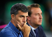 SEVILLE, SPAIN - SEPTEMBER 25:  Head Cocah of Levante UD Juan Ramon Lopez Muniz (L) and President of Levante UD Quico Catalan (R) looks on during the La Liga match between Real Betis and Levante at Estadio Benito Villamarin on September 25, 2017 in Seville, .  (Photo by Aitor Alcalde Colomer/Getty Images)