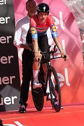 Luxembourg Champion Bob Jungels (LUX) Deceuninck-Quick Step on the start ramp of Stage 1 of the 2019 Giro d'Italia, an individual time trial running 8km from Bologna to the Sanctuary of San Luca, Bologna, Italy. 11th May 2019.<br /> Picture: Eoin Clarke | Cyclefile<br /> <br /> All photos usage must carry mandatory copyright credit (© Cyclefile | Eoin Clarke)
