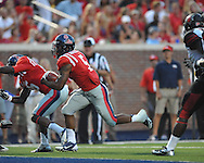 Mississippi running back I'Tavius Mathers (5) scores vs. Southeast Missouri State at Vaught-Hemingway Stadium in Oxford, Miss. on Saturday, September 7, 2013.