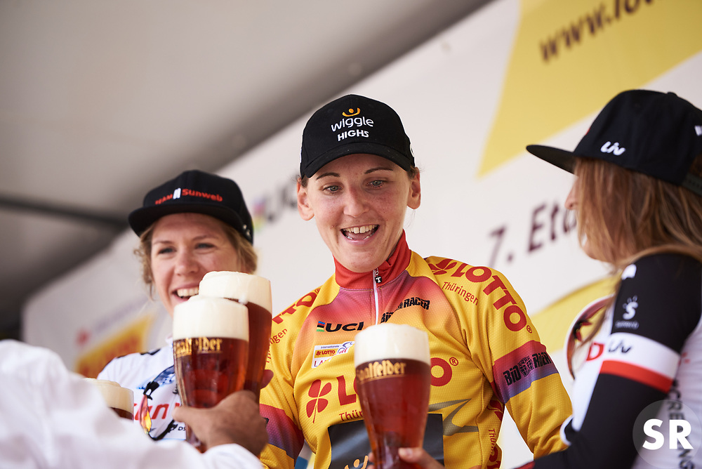 Lisa Brennauer (GER) clinks beers with her competitors at Lotto Thuringen Ladies Tour 2018 - Stage 7, an 18.7 km time trial starting and finishing in Schmölln, Germany on June 3, 2018. Photo by Sean Robinson/velofocus.com