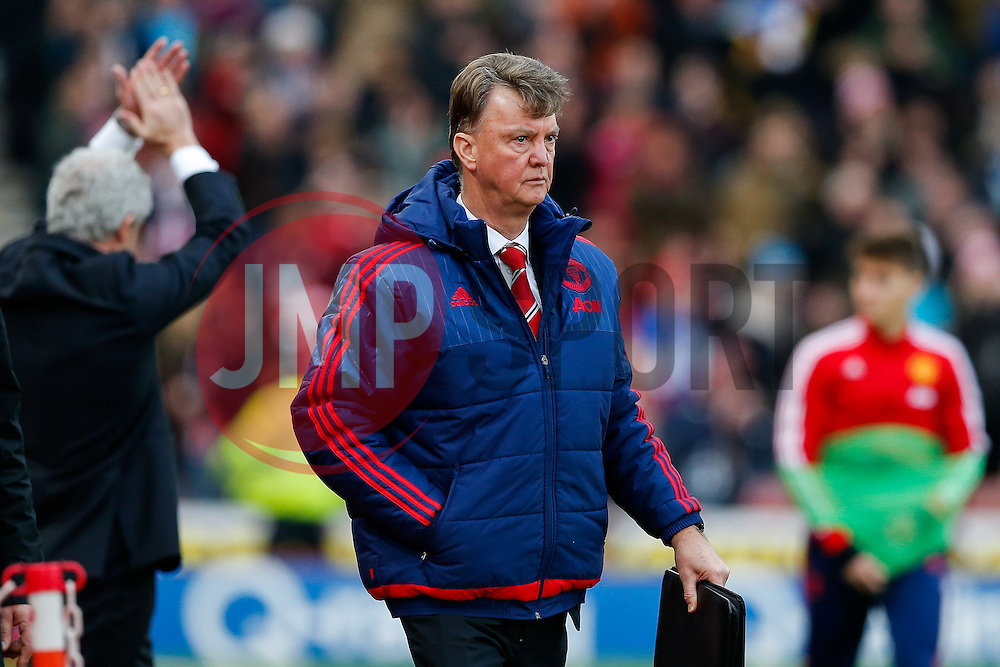 Manchester United Manager Louis van Gaal leaves the pitch with his job rumoured to be under threat after Manchester United lose the game 0-2 - Mandatory byline: Rogan Thomson/JMP - 26/12/2015 - FOOTBALL - Britannia Stadium - Stoke, England - Stoke City v Manchester United - Barclays Premier League - Boxing Day Fixture.