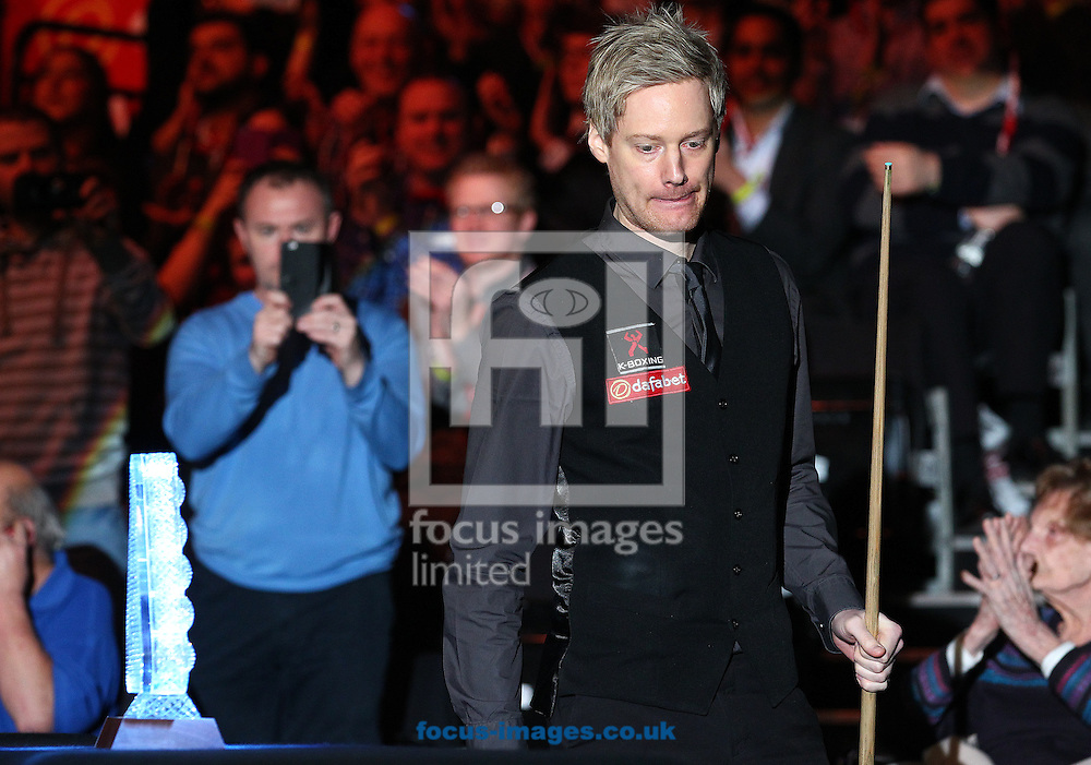 Neil Robertson enters the arena prior to the Dafabet Masters final at Alexandra Palace, London<br /> Picture by Paul Terry/Focus Images Ltd +44 7545 642257<br /> 18/01/2015