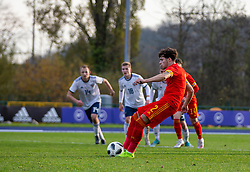 CARDIFF, WALES - Saturday, November 16, 2019: Wales' Neco Williams (L) scores the second goal from a penalty kick, his second of the game, during the UEFA Under-19 Championship Qualifying Group 5 match between Russia and Wales at the Cardiff International Sports Stadium. (Pic by Mark Hawkins/Propaganda)