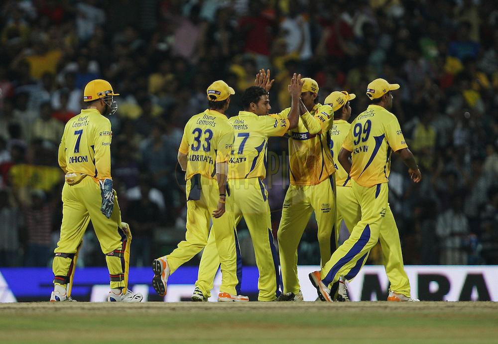CSK players celebrate a wicket during match 14 of the Indian Premier League ( IPL ) Season 4 between the Chennai Superkings and The Royal Challengers Bangalore held at the MA Chidambaram Stadium in Chennai, Tamil Nadu, India on the 16th April 2011..Photo by Jacques Rossouw/BCCI/SPORTZPICS .