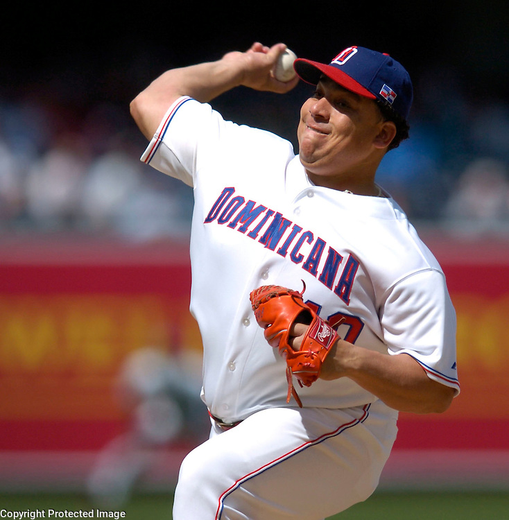 Team Dominican Republic starter Bartolo Colon throws a pitch in the first inning against Team Cuba in Semi-Final action of the World Baseball Classic at PETCO Park, San Diego, CA.