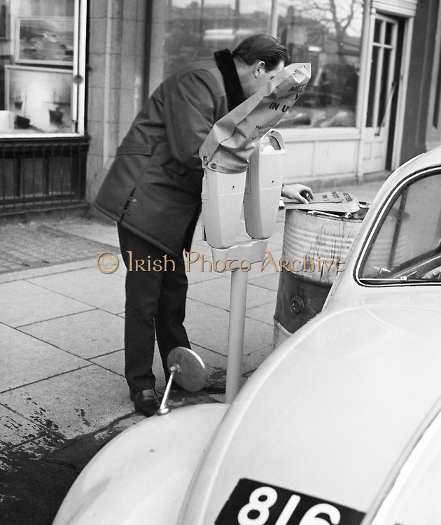 A sign of things to come: The first parking meters are installed in Dublin. They were due to come into operation in 1970. .04.12.1969