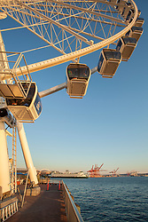 "United States, Washington, Seattle, ""Great Wheel"" ferris wheel, Elliott Bay, the Port of Seattle, and ferry"