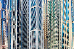detail  of skyscrapers in Marina district of Dubai United Arab Emirates