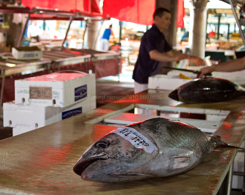 Fish are prepared for the day's sales at the Venice fish market.