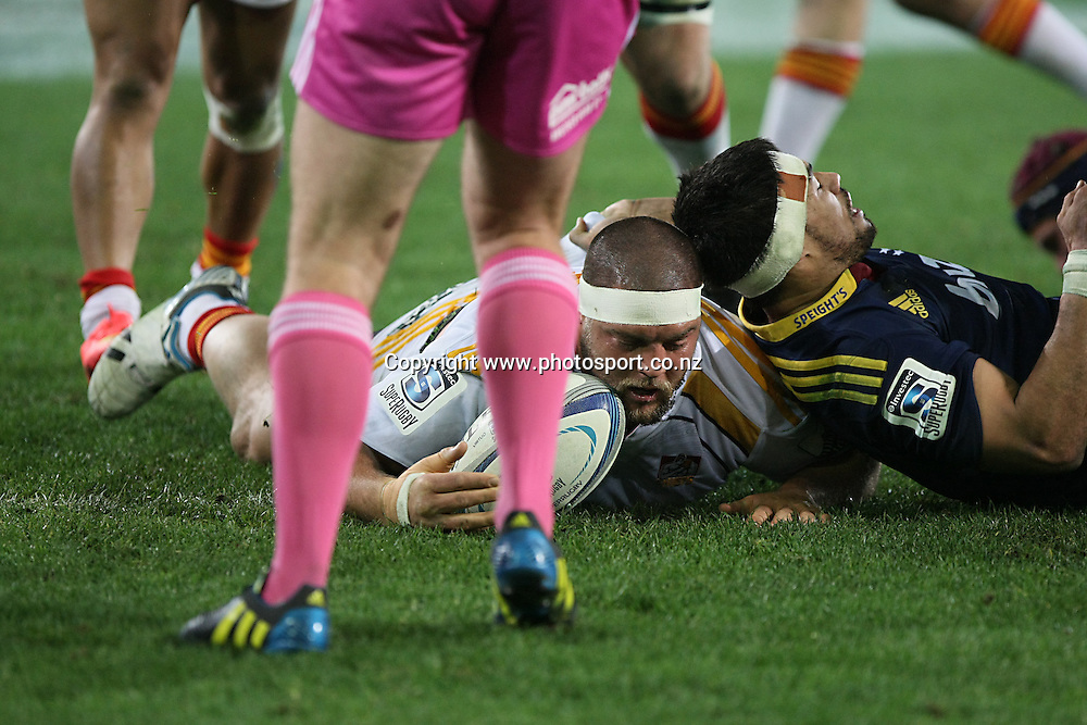 Josh Hohneck of the Chiefs dives over to score a try in the Super 15 rugby match, Highlanders v Chiefs, Forsyth Barr Stadium, Dunedin, New Zealand, Friday, June 27, 2014. Photo: Dianne Manson / www.photosport.co.nz