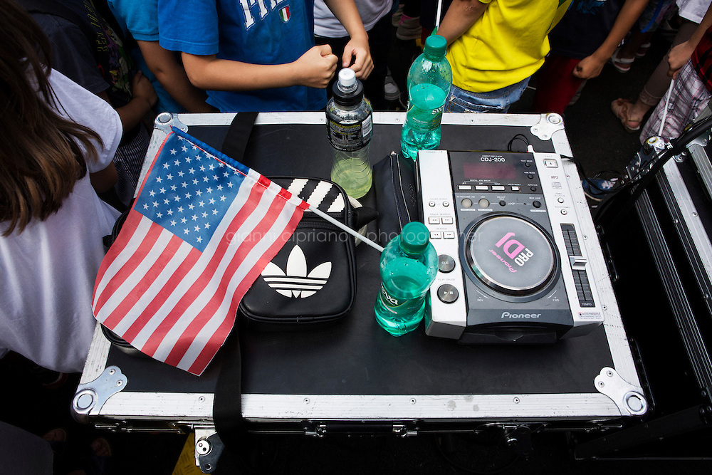 GRASSANO, ITALY - 24 JULY 2014: An American flag lays on one of the sound system tables used for the stage where Mayor of New York Bill de Blasio will speak in Grassano, his ancestral home town in Italy, on July 24th 2014.<br /> <br /> New York City Mayor Bill de Blasio arrived in Italy with his family Sunday morning for an 8-day summer vacation that includes meetings with government officials and sightseeing in his ancestral homeland.