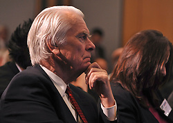 © Licensed to London News Pictures. 17/11/2011, London, UK. LORD DAVID OWEN watches ED MILIBAND MP, Leader of the Labour Party and Leader of the Opposition, delivers a key-note speech to the Social Market Foundation's conference on building a new economy in Central London today, 17th November 2011.  Photo credit : Stephen Simpson/LNP