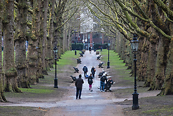 © Licensed to London News Pictures. 4/03/2018. London, UK. Visitors in Green Park today after the snow has melted. Large parts of the UK are recovering from a week of sub zero temperatures and heavy snowfall, following two severe cold fronts.. Photo credit: Rob Pinney/LNP
