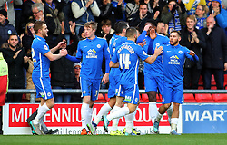 Jon Taylor of Peterborough United (right) celebrates with team-mates after scoring the opening goal - Mandatory byline: Joe Dent/JMP - 07966 386802 - 21/11/2015 - FOOTBALL - Alexandra Stadium - Crewe, England - Crewe Alexandra v Peterborough United - Sky Bet League One