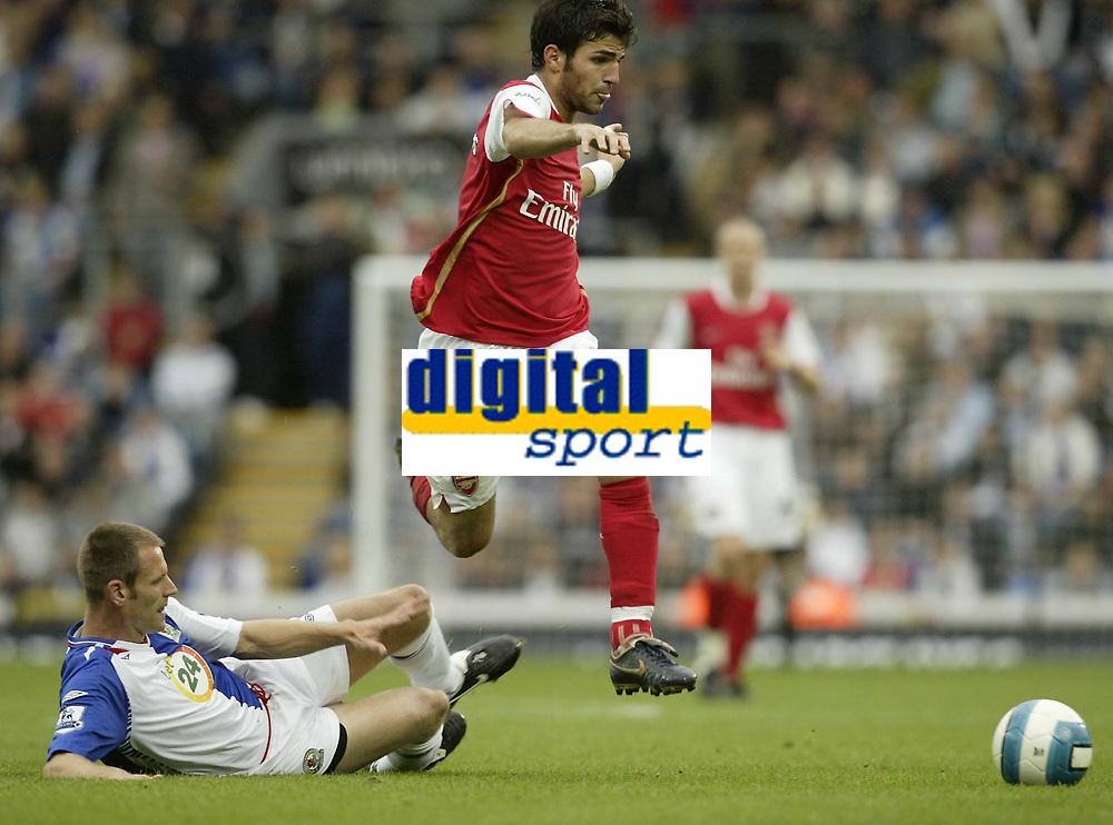 Photo: Aidan Ellis.<br /> Blackburn Rovers v Arsenal. The FA Barclays Premiership. 19/08/2007.<br /> Arsenal's Cesc Fabregas jumps the challenge from Blackburn's Andre Ooijer