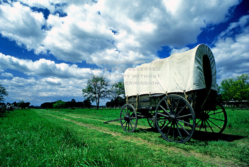 Image of a covered wagon along the Oregon Trail at the Whitman Mission National Historic Site in Walla Walla, Washington, Pacific Northwest