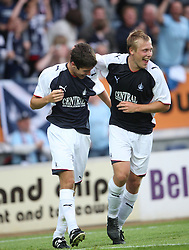 Falkirk cele Ryan Flynn with Scott Arfireld scoring goal.<br /> Falkirk 1 v 0 FC Vaduz, Europa League Qualifying.<br /> &copy;2009 Michael Schofield. All Rights Reserved.