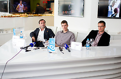 Rade Filipovic, manager of Goran Dragic ©, Slovenian professional basketball player for the Houston Rockets of the NBA and Peter Percic of Telemach  during press conference after Dragic returned to Slovenia on May 8, 2012 in Ljubljana, Slovenia. (Photo by Vid Ponikvar / Sportida.com)