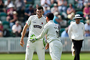 Wicket - Craig Overton of Somerset celebrates taking the wicket of Ross Taylor of Nottinghamshire to wrap up the Nottinghamshire innings during the Specsavers County Champ Div 1 match between Somerset County Cricket Club and Nottinghamshire County Cricket Club at the Cooper Associates County Ground, Taunton, United Kingdom on 10 June 2018. Picture by Graham Hunt.
