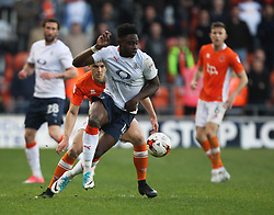 Pelly Ruddock of Luton Town and Brad Potts of Blackpool (L) in action - Mandatory by-line: Jack Phillips/JMP - 14/05/2017 - FOOTBALL - Bloomfield Road - Blackpool, England - Blackpool v Luton Town - Football League 2 Play-off Semi Final Leg 1