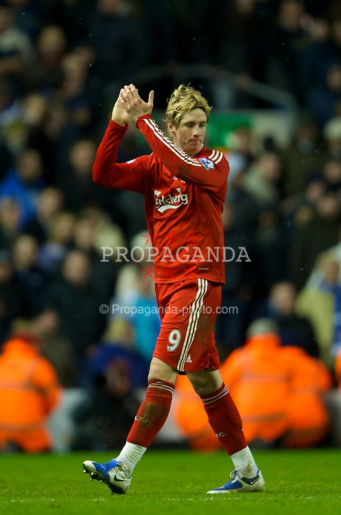 LIVERPOOL, ENGLAND - Sunday, February 1, 2009: Liverpool's two-goal hero Fernando Torres celebrates his side's victory over Chelsea during the Premiership match at Anfield. (Mandatory credit: David Rawcliffe/Propaganda)