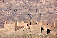 Kasbah ruin and Jebel Kissane mountains in the Draa Valley, Morocco.