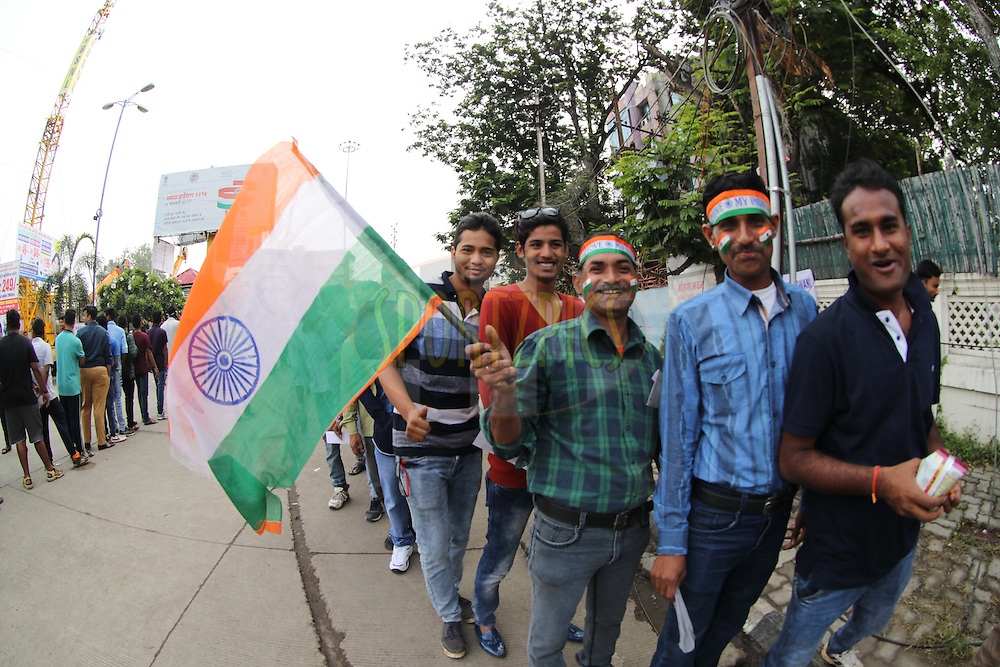 Fans flock to the stadium for the 1st test match at Indore during day 1 of the third test match between India and New Zealand held at the Holkar stadium in Indore on the 8th October 2016.<br /> <br /> Photo by: Ron Gaunt/ BCCI/ SPORTZPICS