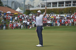 October 14, 2018 - Kuala Lumpur, Malaysia - Marc Leishman of Australia celebrates on the 18th green during the final round of CIMB Classic golf tournament in Kuala Lumpur, Malaysia on October 14, 2018. (Credit Image: © Zahim Mohd/NurPhoto via ZUMA Press)
