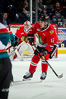 KELOWNA, BC - MARCH 03: Reece Newkirk #12 of the Portland Winterhawks skates against the Kelowna Rockets  at Prospera Place on March 3, 2019 in Kelowna, Canada. (Photo by Marissa Baecker/Getty Images)
