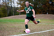 The girls high school soccer playoff game between the St. Johsbury Hilltoppers and the Mount Mansfield Cougars at MMU High School on Wednesday afternoon October 21, 2015 in Jericho, Vermont.