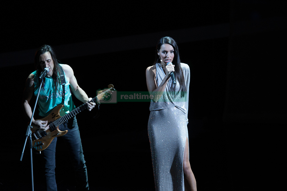 MOSCOW, Dec. 1, 2017  Russian singer Alsou (R) performs during the Final Draw of the FIFA World Cup 2018 at the Kremlin Palace in Moscow, capital of Russia, Dec. 1, 2017. (Credit Image: © Bai Xueqi/Xinhua via ZUMA Wire)