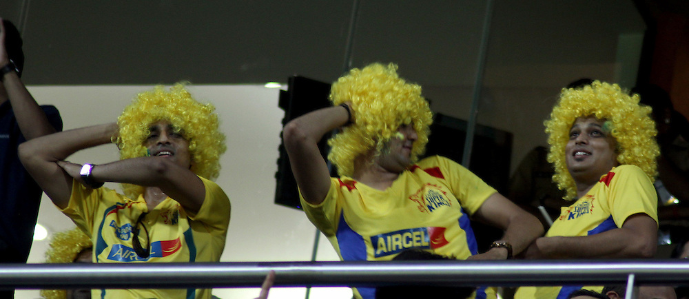 Fans of Chennai Superkings during match 25 of the the Indian Premier League ( IPL ) Season 4 between the Mumbai Indians and the Chennai Superkings held at the Wankhede Stadium, Mumbai, India on the 22nd April 2011..Photo by Sandeep Shetty/BCCI/SPORTZPICS.