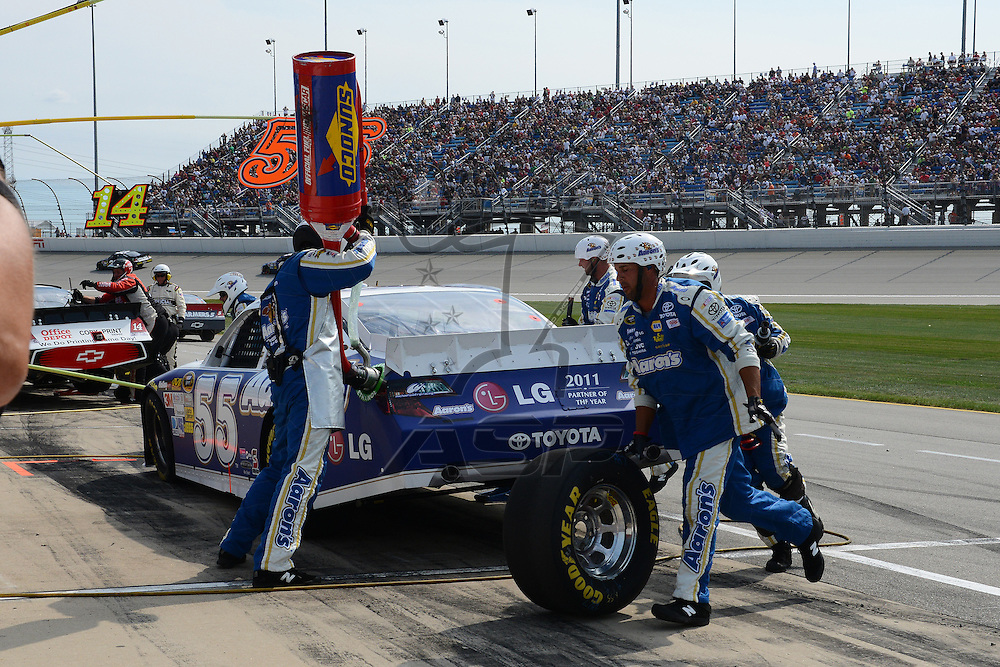 Joliet, IL - SEP 16, 2012: Mark Martin (55) makes a pit stop for the Geico 400 at the Chicagoland Speedway in Joliet, IL.