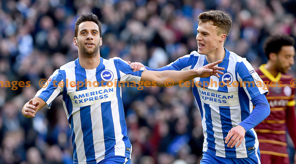 Brighton&rsquo;s Sam Baldock celebrates after he scores Brighton's opening goal with Brighton&rsquo;s Solly March during the Sky Bet Championship match between Brighton and Hove Albion and Queens Park Rangers at the American Express Community Stadium in Brighton and Hove. December 27, 2016.<br /> Liz  Finlayson / Telephoto Images<br /> +44 7967 642437