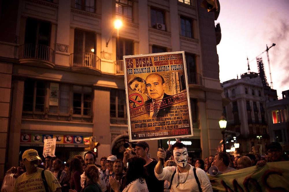 Barcelona, Spain. Protest against the cutbacks and austerity.