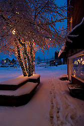 """""""Holiday Lights in Downtown Truckee 2"""" - These snow covered holiday lights were photographed on Commercial Row in historic Downtown Truckee, CA."""
