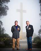 Alan Mitchell and Frank Mitchell at the Mt. Macedon Memorial Cross.