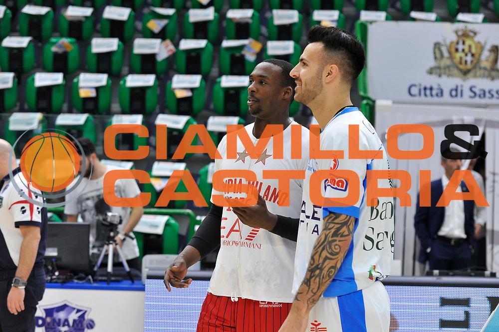 DESCRIZIONE : Beko Legabasket Serie A 2015- 2016 Dinamo Banco di Sardegna Sassari - Olimpia EA7 Emporio Armani Milano<br /> GIOCATORE : Rakim Sanders Brian Sacchetti<br /> CATEGORIA : Before Pregame Ritratto Fair Play<br /> EVENTO : Beko Legabasket Serie A 2015-2016<br /> GARA : Dinamo Banco di Sardegna Sassari - Olimpia EA7 Emporio Armani Milano<br /> DATA : 04/05/2016<br /> SPORT : Pallacanestro <br /> AUTORE : Agenzia Ciamillo-Castoria/C.AtzoriCastoria/C.Atzori