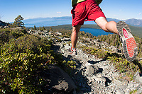 Young man running near the Pacific Crest Trail. South Lake  Tahoe, CA