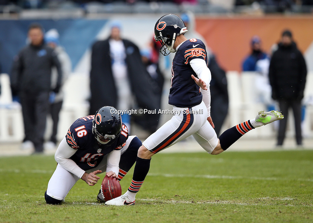 Chicago Bears punter Pat O'Donnell (16) holds while Chicago Bears kicker Robbie Gould (9) kicks a 49 yard field goal that cuts the Detroit Lions lead to 10-3 in the third quarter during the NFL week 17 regular season football game against the Detroit Lions on Sunday, Jan. 3, 2016 in Chicago. The Lions won the game 24-20. (©Paul Anthony Spinelli)