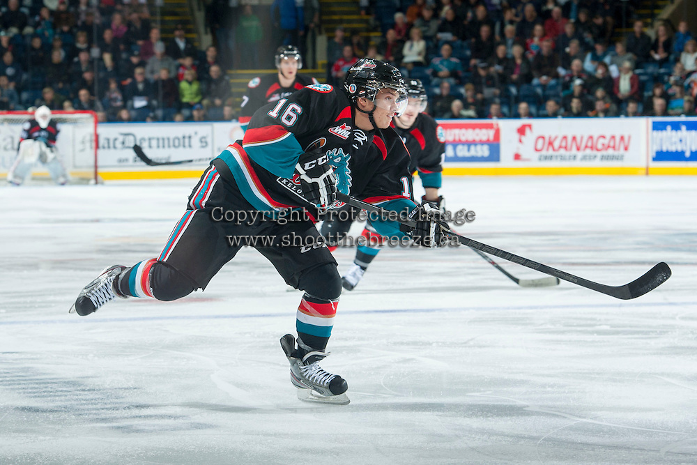 KELOWNA, CANADA - NOVEMBER 9: Kris Schmidli #16 of the Kelowna Rockets takes a shot against the Edmonton Oil Kings on November 9, 2013 at Prospera Place in Kelowna, British Columbia, Canada.   (Photo by Marissa Baecker/Shoot the Breeze)  ***  Local Caption  ***