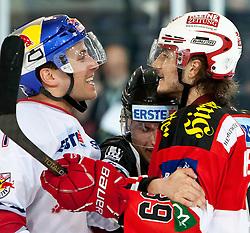 12.04.2011, Volksgarten Arena, Salzburg, AUT, EBEL, FINALE, EC RED BULL SALZBURG vs EC KAC, im Bild nach dem Spiel gerieten Martin St.Pierre, (EC RED BULL SALZBURG, #11) und Raphael Herburger, (EC KAC, #89) noch aneinander, der Schiedsrichter musste einschreiten // during the EBEL Eishockey Final, EC RED BULL SALZBURG vs EC KAC at the Volksgarten Arena, Salzburg, 2011-04-12, EXPA Pictures © 2011, PhotoCredit: EXPA/ J. Feichter